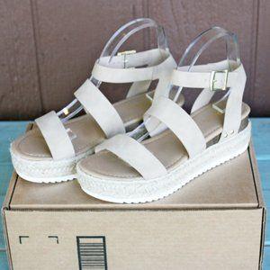 SODA Bryce Taupe Espadrille Sandals Open Toe Sz 9
